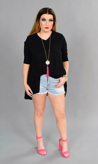 SQ-N {Caught Up} Black Ribbed V-Neck Top with 3/4 Sleeves