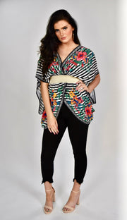 PSS-B {Dream Date} Black Floral Striped Top Elastic Waistband