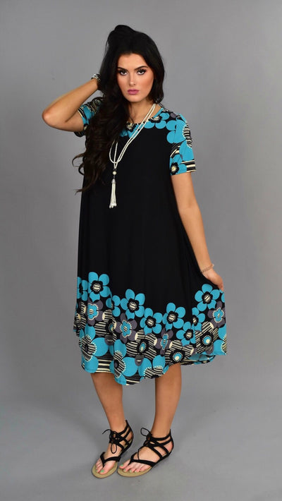 PSS-Q {Something About You} Black/Teal Floral Midi Dress SALE!!