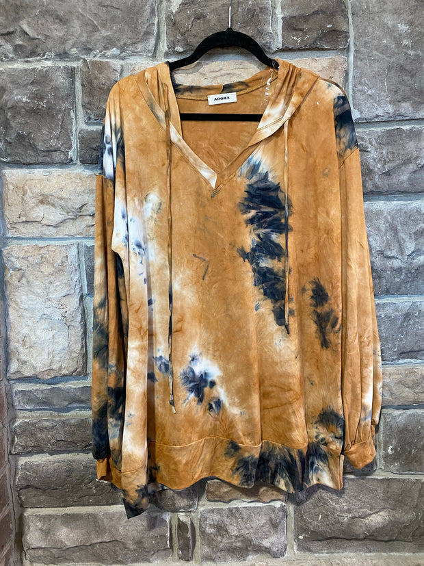 10-13 HD-A {Closing Hours} Brown Navy Tie Dye Hoodie SIZE S M L