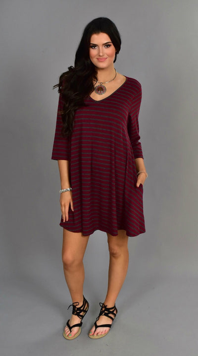 PQ-O {Last Chance} Burgundy/Gray Striped Dress with Pockets