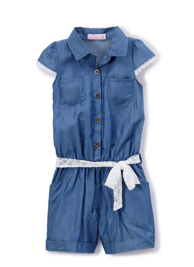 KIDS {Romp Around} Chambray Romper With Lace Belt Detail SALE!!