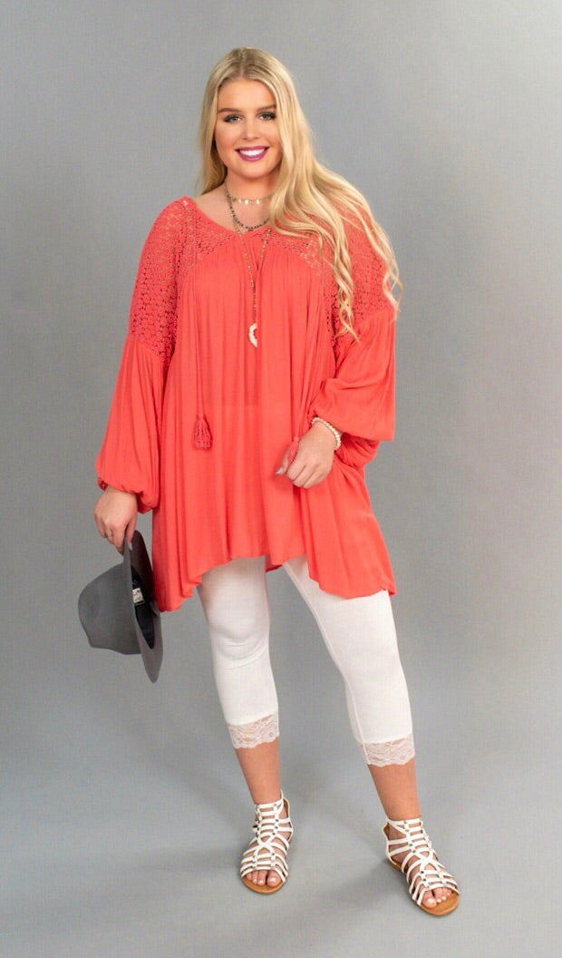 SLS-K {Lost Girl} Coral Crochet Bohemian Tunic SALE!!