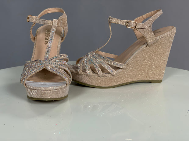 SHOES {Bella Marie} Gold Wedges With Sparkles