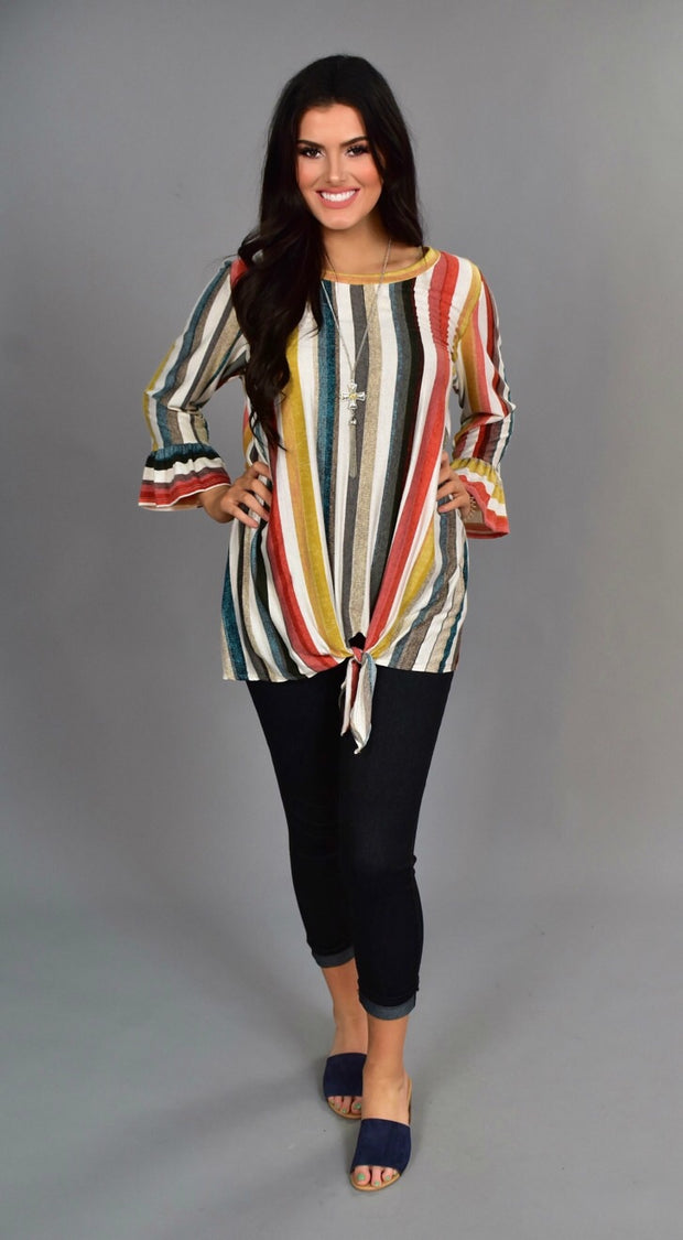 PQ-R {Yes It's True} Vertical Striped Tunic with Tie Hem