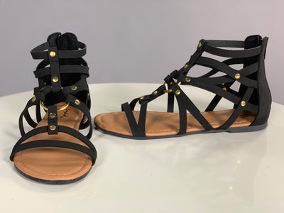 SHOES {Qupid} Black  With Gold Center Accent