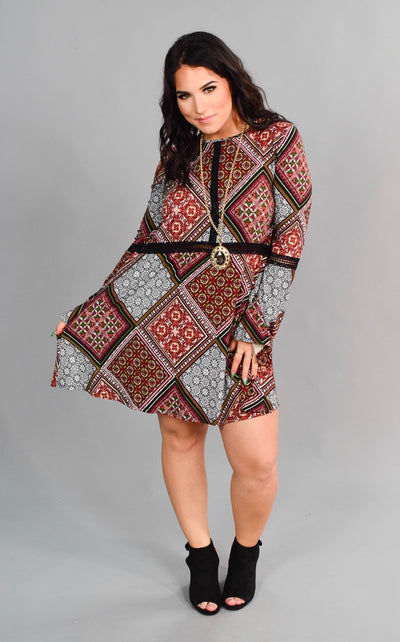 PLS-O {Just What I Need} Retro Style Dress with Bell Sleeves