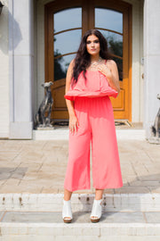 RP-K {Make It Sweet} Coral Jumpsuit with Double Ruffle Yoke SALE!!