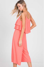RP-K {Make It Sweet} Coral Jumpsuit with Double Ruffle Yoke