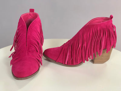 SHOES {Beast} Fuchsia Fringed Booties with Block Heel