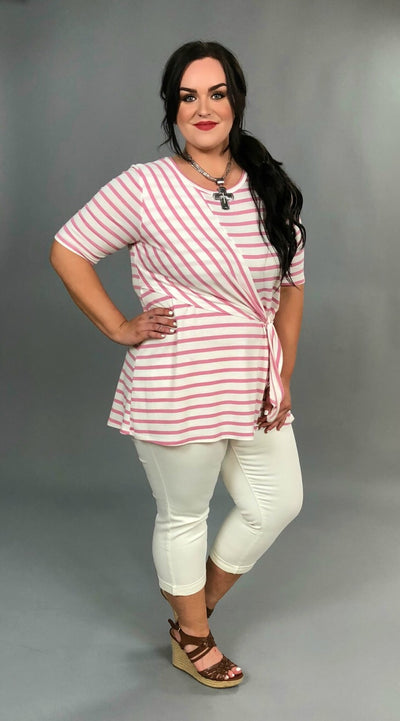 PSS-A {Surprise Me} Pink Striped with Yoke-Tie Detail Tunic