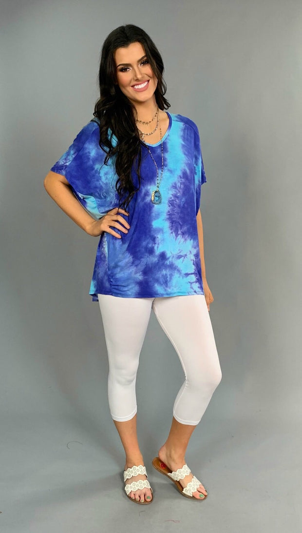 PSS-U {Always in Style} Blue/Aqua Tie-Dye V-Neck Top