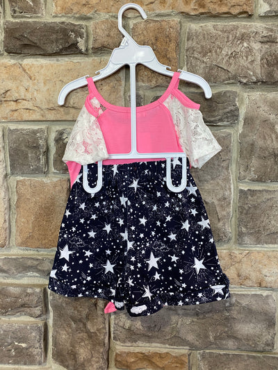KIDS {Rise & Shine} Pink Cold Shoulder Top W/shorts