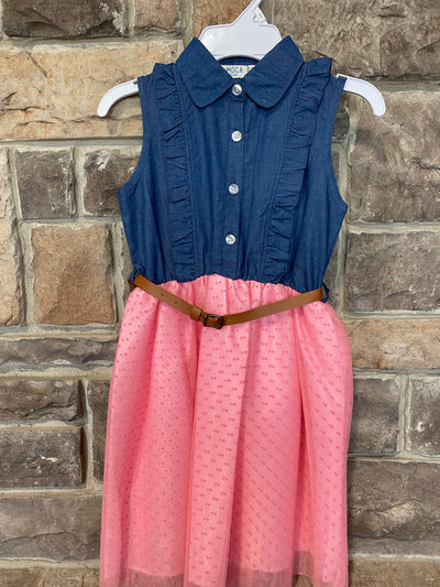 KIDS {Isn't She Lovely} Denim & Pink Sleeveless Dress