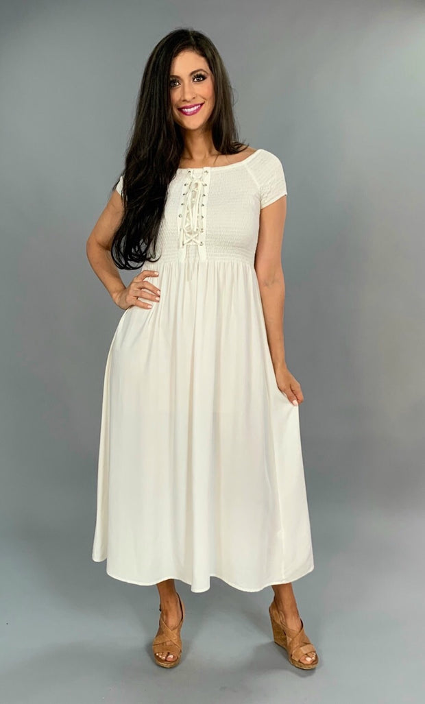 LD-E {Beauty & The Beach} White Dress with Corset Detail