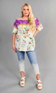 OS-K {Guilty Pleasures} Purple Floral Top with Elastic Detail SALE!!