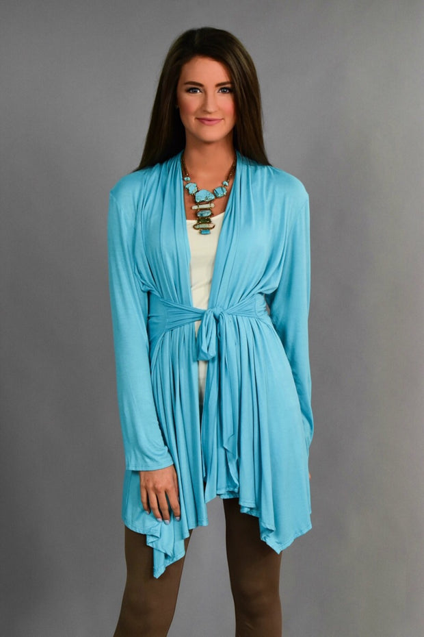 OT-D {Flare For Life} Turquoise Cardigan With Waist Tie