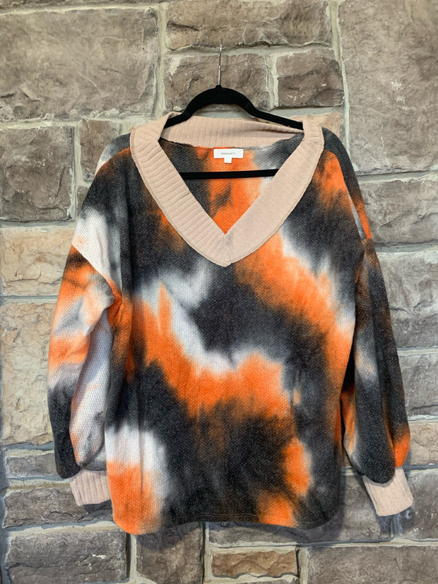 10-02 CP-E {Melt Your Heart} Rust Black Tie Dye Waffle Top SIZE S M L