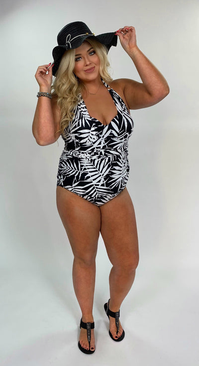 SWIM {Beauty Within} Black & White Tropical Print Swimsuit