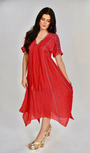 LD-A {Charmed Life} Coral Dress with Embroidery Detail SALE!!