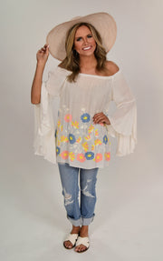 SD-Z {Just Like That} White Top with Floral Embroidery Detail