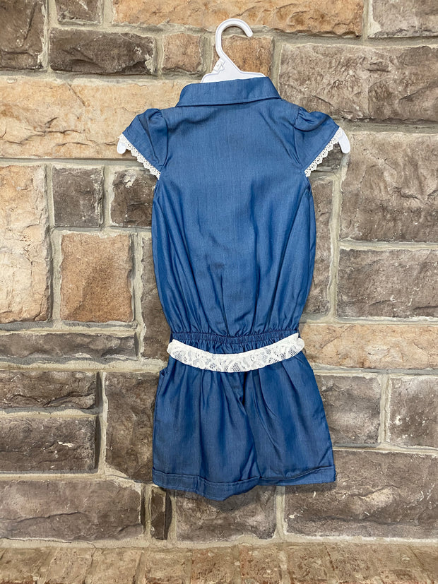 KIDS {Romp Around} Chambray Romper With Lace Belt Detail