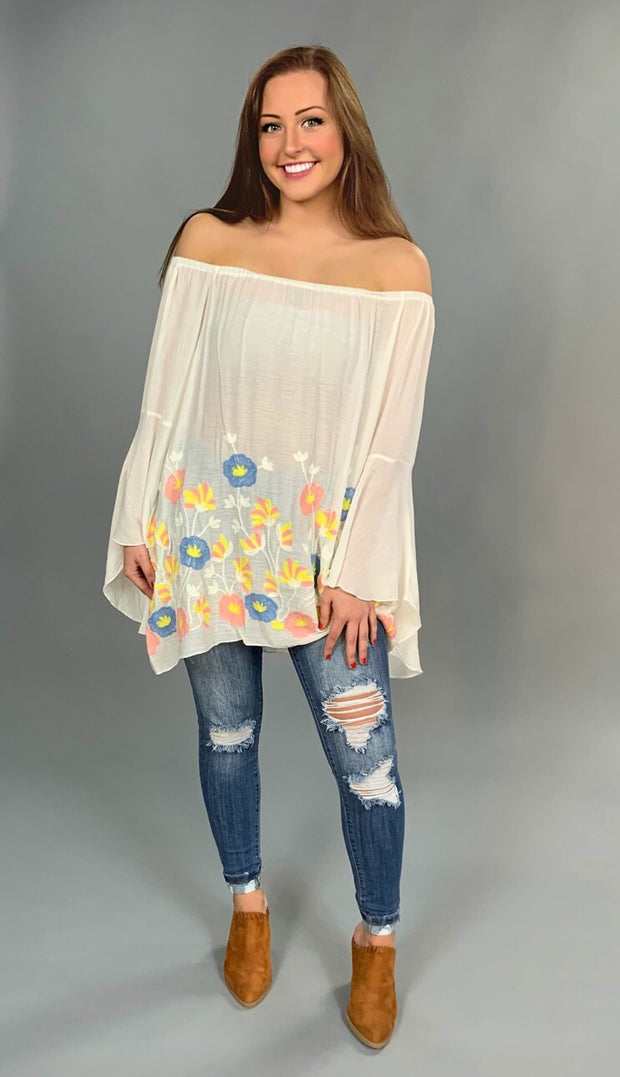 SD-E  {Over The Horizon} Ivory Top With Crochet Flowers