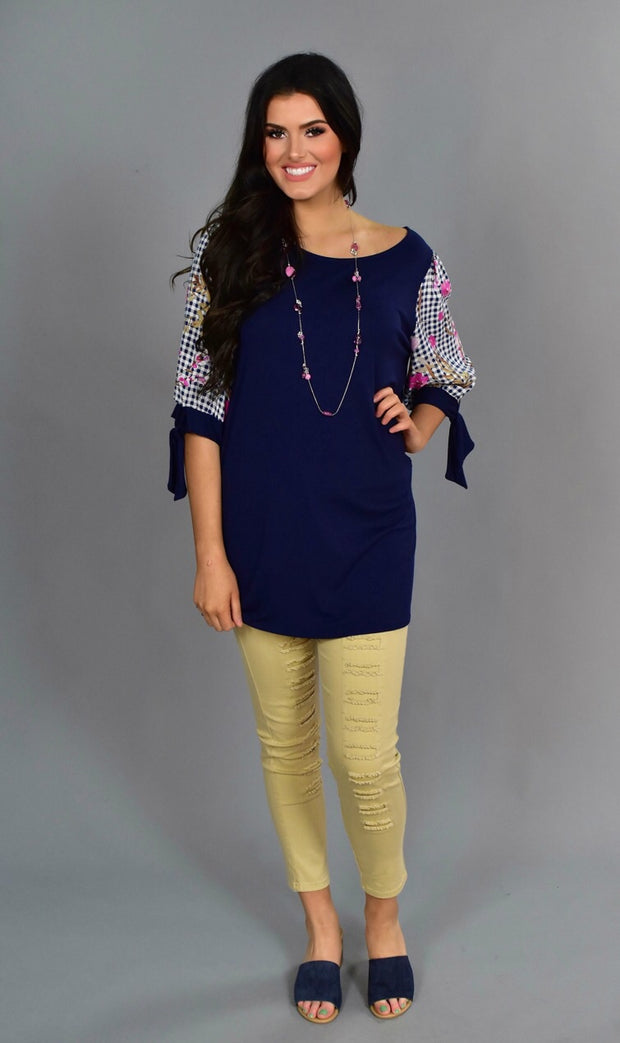 "CP-R ""Paranoid"" Navy Tunic With Floral Plaid Sleeves"