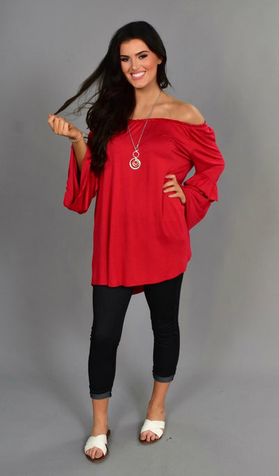 SLS-C Red Top with Elastic Neckline & Detailed Sleeves