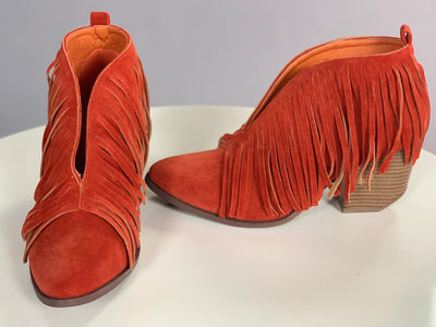 SHOES {Beast} RUST Fringed Booties with Block Heel