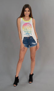 GT-D {Endless Summer} Palm Tree Neon Graphic Tank Top SALE!!