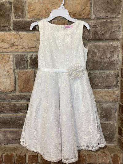 KIDS {Fancy Garden Party} White Dress W/Satin Belt