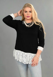 SD-i {Make A Statement} Black Top with White Lace Hem