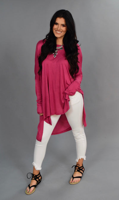 SLS-S {As Soon As Possible} Rose Pink Hi-Lo Tunic