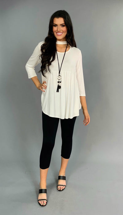 SQ-D {Let Me In} Ivory Mock Neck Top 3/4 Sleeves