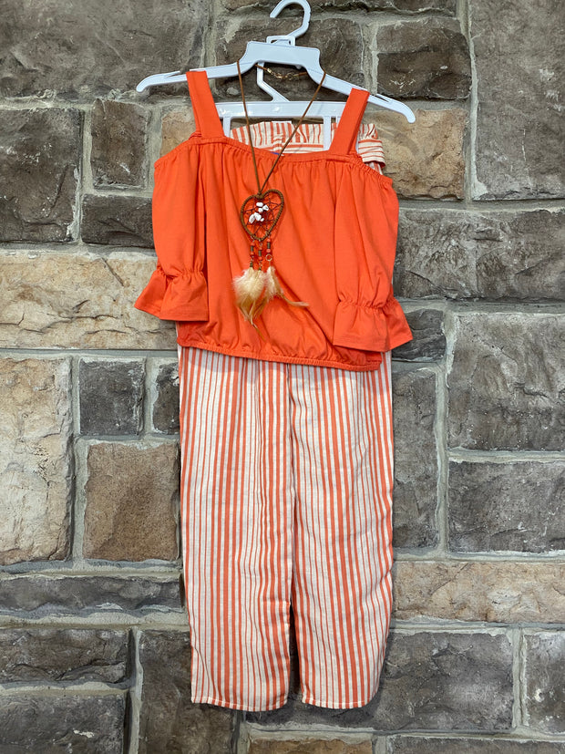 KIDS {Bohemian Babe} Orange Open Shouder Top Striped Pant Set