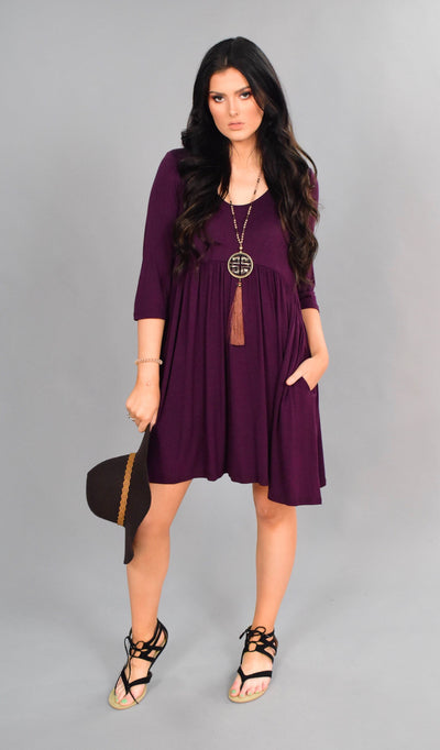 SQ-B {Best Believe} Raisin Soft Babydoll Tunic 3/4 Sleeves