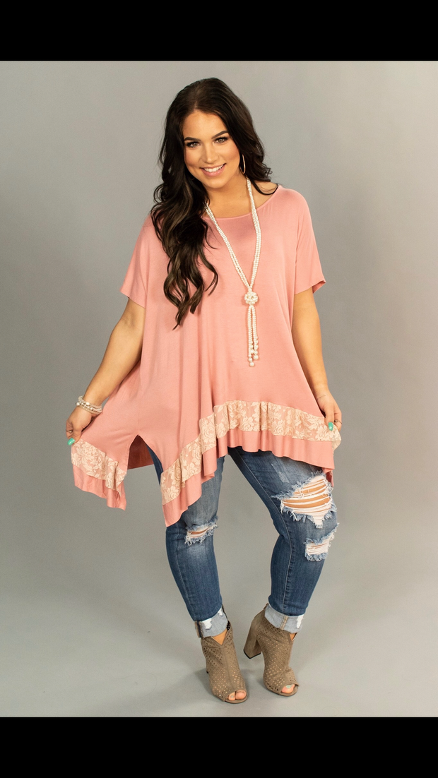 SD-A {Simple Truth} Mauve Loose-Fitting Top with Lace