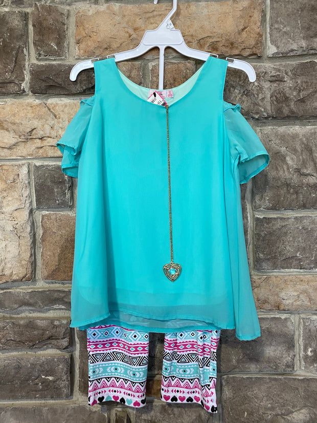 KIDS {Little Lady} Aqua Top & Necklace W/Print Capri Set SALE!!