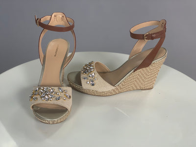 SHOES {Liz Claiborne} Nude Wedges With Gold Rhinestones