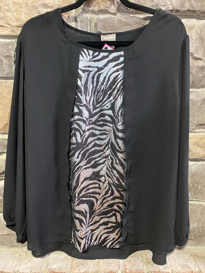 CP-A {Express Yourself} Black Top w/ Silver Zebra Inset