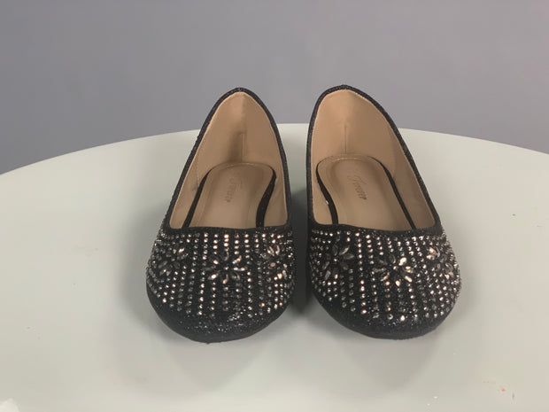 SHOES {Forever} Black Flat Shoes with Rhinestones