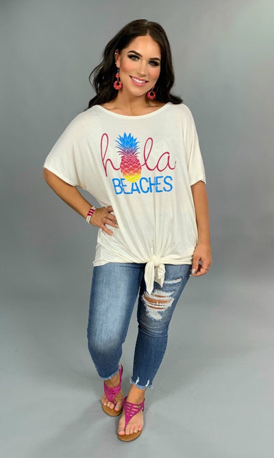 GT-A {Hola Beaches} White Graphic Tee with Front Tie