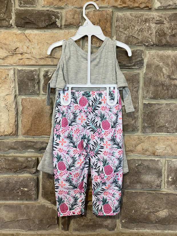 KIDS {Aloha Days} Grey Cold Shoulder Top W/Print Capris Set