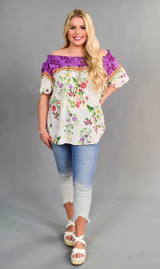 OS-K {Guilty Pleasures} Purple Floral Top with Elastic Detail