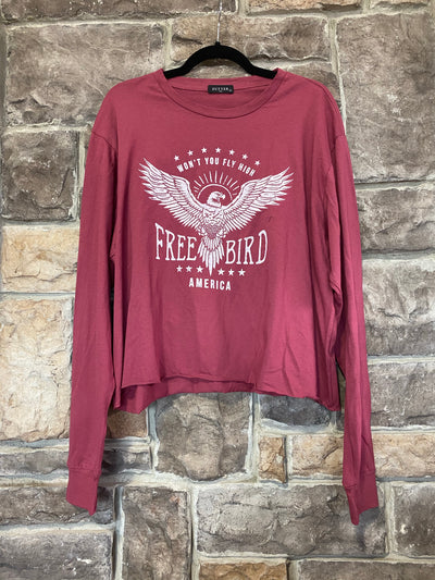 GT-C {Free Bird} Red Rust Free Bird Graphic Crop Top