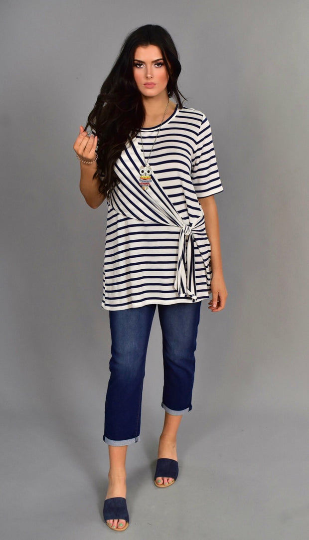 PSS-D {Strong Faith} Navy Striped Top with Yoke-Tie Detail