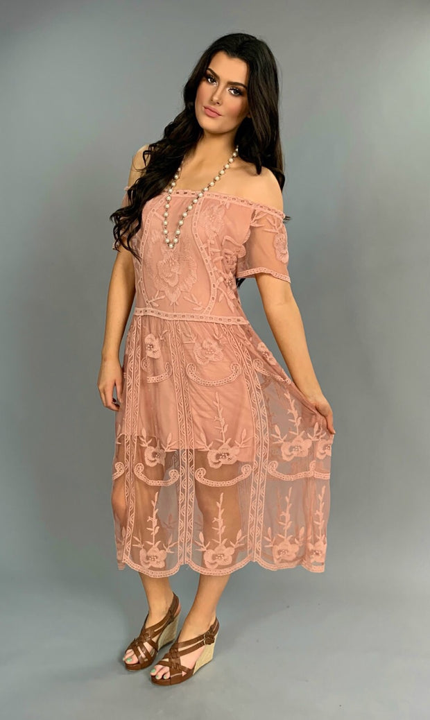OS-A {Looking Suave} Mauve Lace Detailed Dress w/Lining
