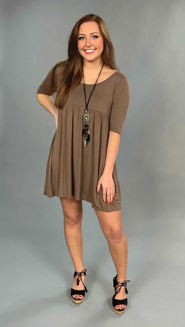 SQ-G {Top Priority} Mocha Babydoll Dress with Pockets