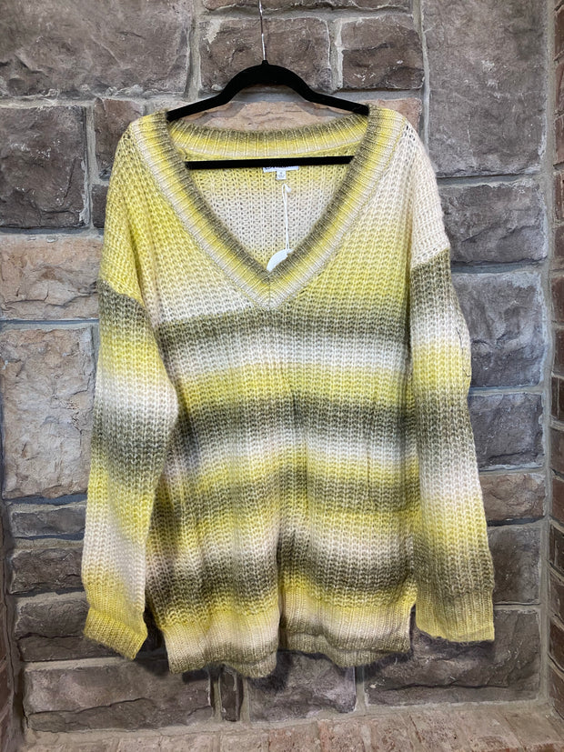 10-13 PLS-M {Love Notes} Yellow Olive Striped Sweater SIZE S M L XL